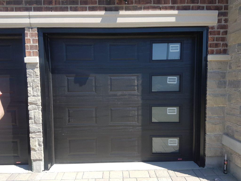 Black garage doors installation